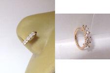 18k Rose Gold Plated 5 Clear CZ Crystals Nose Nostril Hoop Ring 18 gauge 18g