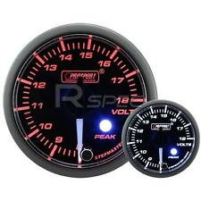 Prosport 52mm Clear Amber White Car DC Volt Voltage Gauge Peak Warning