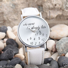 MEMORIAL GIFT Women Watch Who Cares I'm Already Late Letter Leather WHITE Watch
