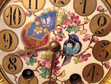 Sensational Antique French Hand Painted Clock Dial Movement Parts Japy Era