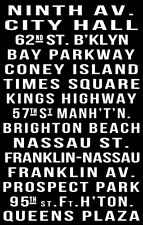 New York Subway Sign Poster 11X17 Coney Island Times Square Buy Any 2 Get 1 FREE