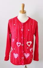 Quacker Factory Valentines Heart Sweater Women Small knit cotton blend Red CS28
