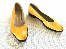 Salvatore Ferragamo Yellow Patent Leather  Low Heel Pumps Shoes 5.5 B