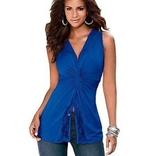 Women's Soft Vest Sleeveless Blouse Casual Tank Tops T-Shirt Lace Cross Royal L