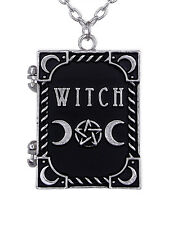 Restyle Witch Picture Locket Book Necklace Pentagram Moon Symbols Gothic Pagan
