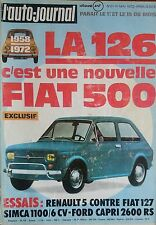 L'AUTO JOURNAL 1972 8 CITROEN SM SIMCA 1100 FORD CAPRI 2600RS RENAULT 5 FIAT 127