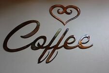 COFFEE and Heart combo  METAL ART DECORATION COPPER/BRONZE PLATED