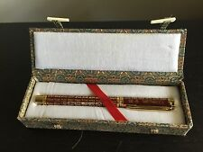 Fine Chinese Calligraphy Gilt Gold Metal Art Poem Pen w Box Unique NICE NR