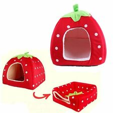 Durable Pet Dog Cat Bed House Soft Strawberry Kenne Puppy Warm Cushion Pad New