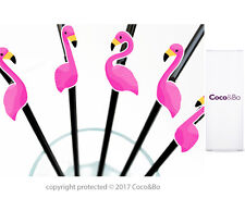Coco&Bo 10 x Hot Pink Flamingo Straws - Beach Party Cocktail Decorations