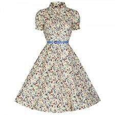 NEW VINTAGE 50'S STYLE SUMMER YELLOW DITSY FLOWER SWING PARTY DRESS SIZE 22