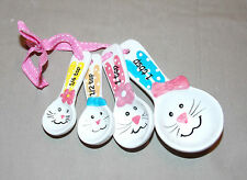 NEW CUTE EASTER BUNNY RABBIT FACES & EARS MEASURING SPOONS BAKING LIQUID 4pc SET
