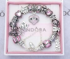 Authentic Pandora Silver Bracelet with Mom WIfe Family European Charms