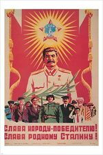 vintage soviet union era PROPAGANDA POSTER WITH STALIN communism RED 24X36