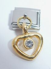 GOLD HEART CLEAR GEM Italian Charm - 9mm Classic Size April Gems I Love You N70