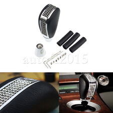 Fit Bling Bling Leather Shifter Shift Knob Crystal Rhinestone Universal Car Auto
