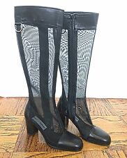 DOLCE & GABBANA vintage 90s black leather & mesh knee boots 37 7