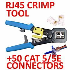 EZRJ45PRO CRIMP TOOL & WIRE STRIPPER +50 CAT5/5E CONNECTORS  ( EZ-RJ45 EZ RJ45)