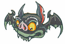 A1214 Aufnäher Patch Rockabilly Old School Tattoo Gothic Fledermaus Bat grau