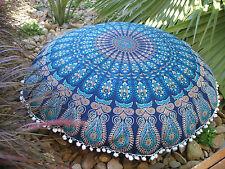 Indian Blue Peacock Mandala Floor Pillows Cushion Covers Bohemian Round Ottoman