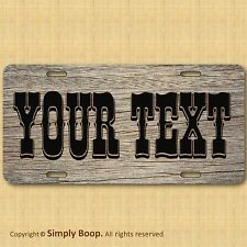 Personalized Your Text Name Custom License Plate Auto Car Tag Western Wood Look!