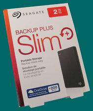 New Seagate Slim 2TB External HD / Hard Drive -Backup Plus -Black