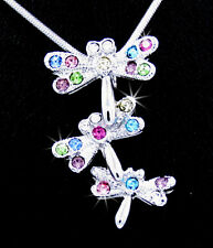 Dragonflies Silver Tone Austrian Crystal Pendant Chain Necklace Multicolor New