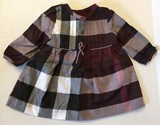 Burberry Children Girls Pintuck Check Twill Dress  Beetroot Long Sleeve NWT 12M