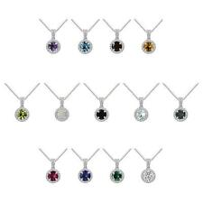 "Sterling Silver 925 Round Gemstone Halo Pendant with 18"" Box Chain"