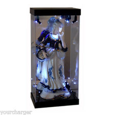 MB Display Box Acrylic Case LED Light House for Porcelain Statue Woman Figurine
