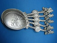 Lot of 6 Antique German Solid  Embossed  Pewter Reinzinn Spoons Engraved 3 Marks