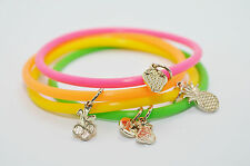 JULES SMITH Gold Charm Neon Fruity Pebbles Jellies Bracelet set of 4 $35 NEW