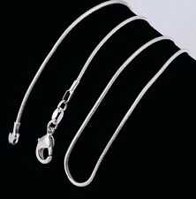 """(1)""""  1mm, . 925  Sterling Silver Snake Chain, Necklaces 20"""" Beautiful!!"""