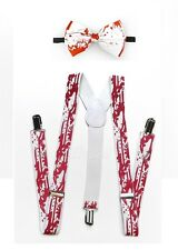 Halloween White Bloody Suspender and Bow Tie for Adults Teenagers Women Men