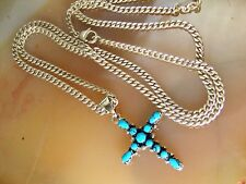 """Avery Sterling Silver Heavy Curb Chain NECKLACE Petite Point Turquoise Cross 26"""""""