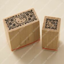 Sanrio Japan Hello Kitty Wooden Small Rubber Stamp 2pc set - A