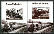 Chad 2016 CTO Victorian Trains Steam Engines Locomotives 2x 1v M/S Rail Stamps