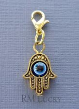 Gold Hamsa Clip On Charm Dangle. Fit Link Chain, Floating locket c139