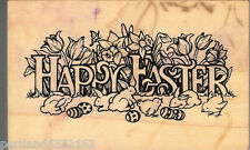 PSX Rubber Stamp G-830 Happy Easter, Bunnies & Chicks  Used S14