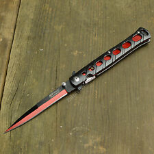 "9"" Spring Assisted Open Milano Stiletto Tactical Folding Pocket Knife Red/Black"