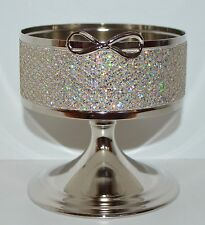 BATH & BODY WORKS SPARKLY SILVER BOW PEDESTAL LARGE 3 WICK CANDLE HOLDER SLEEVE