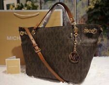 NWT Michael Kors JET SET Chain MK Sig Gather Shoulder Tote Bag BROWN PVC $328