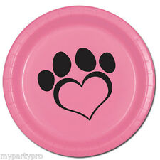 PUPPY PAWS Dog Love Pink Dessert Plate Birthday Party Supplies free shipping