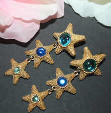 LOVELY RARE TRIFARI TM STARFISH CLIP EARRINGS 2 1/2 INCHES LONG EXCELLENT!!!!