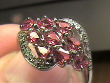 natural malawi ruby STERLING SILVER 925 ring 7.25 WHITE GOLD state small band bo