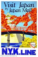 Visit Japan by Mail N.Y.K. Line Vintage Travel Advertisement Art Poster Print