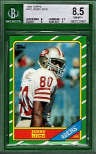 1986 Topps JERRY RICE Rookie #161 BVG 8.5 49ers HOF!! w/ 9 Subs