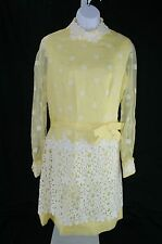 Vintage 60's Yellow Daisy Organza Embroidered Lace Overlay Party Dress Fits L