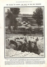 1916 WWI PRINT FRENCH COMMUNICATION TRENCH IN CHAMPAGNE WAR ZONE ZIG-ZAG TRENCH