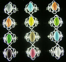 Factory Price Wholesale 10pcs Colorful Women's Silver Opal /Cat Eye Rings Gift